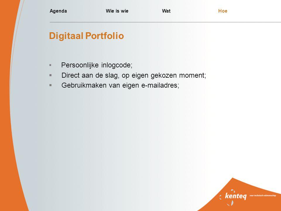 AgendaWie is wieWatHoe Digitaal Portfolio  Persoonlijke inlogcode;  Direct aan de slag, op eigen gekozen moment;  Gebruikmaken van eigen e-mailadre
