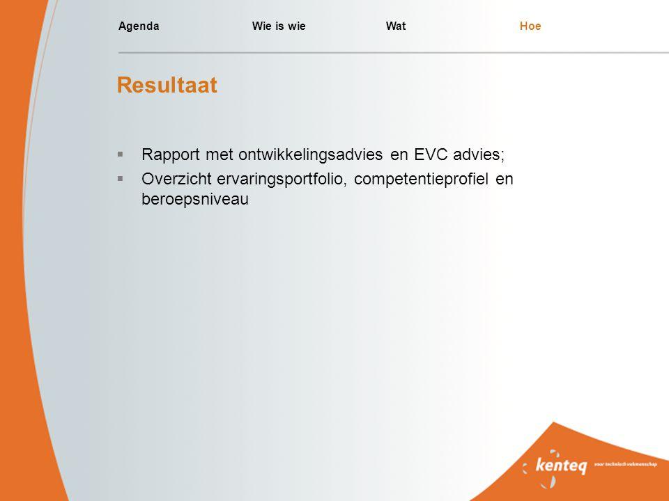AgendaWie is wieWatHoe Resultaat  Rapport met ontwikkelingsadvies en EVC advies;  Overzicht ervaringsportfolio, competentieprofiel en beroepsniveau