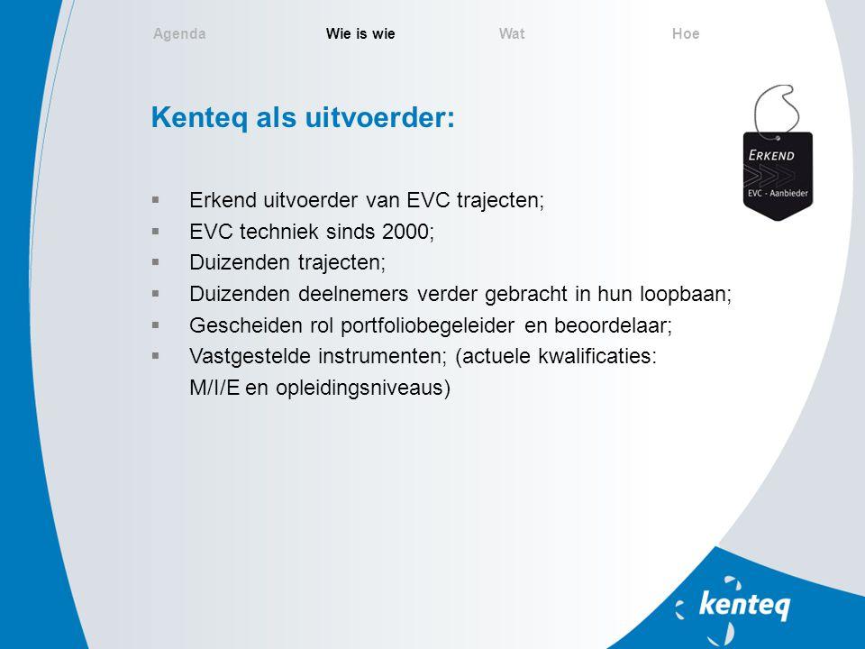 Kenteq als uitvoerder:  Erkend uitvoerder van EVC trajecten;  EVC techniek sinds 2000;  Duizenden trajecten;  Duizenden deelnemers verder gebracht