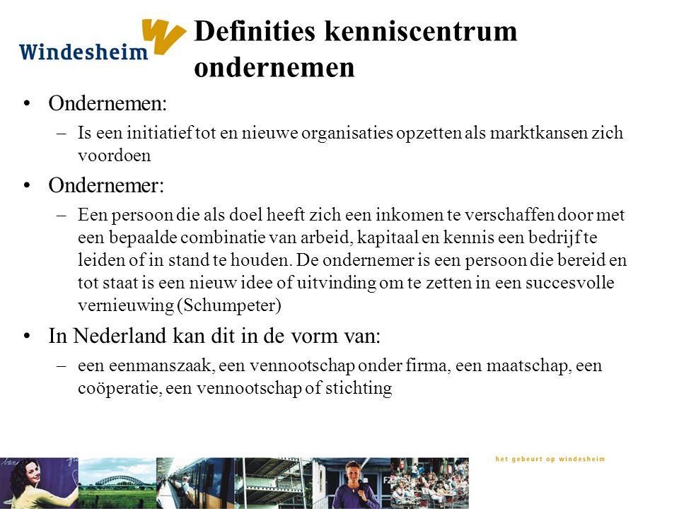 Definities kenniscentrum ondernemen Ondernemen: –Is een initiatief tot en nieuwe organisaties opzetten als marktkansen zich voordoen Ondernemer: –Een