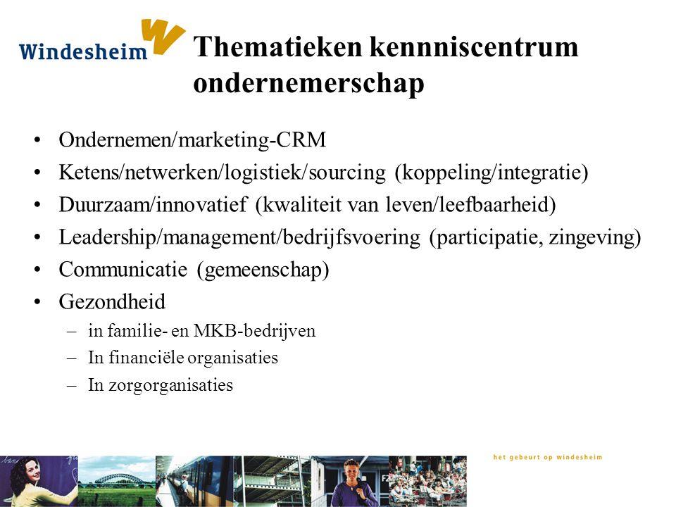 Thematieken kennniscentrum ondernemerschap Ondernemen/marketing-CRM Ketens/netwerken/logistiek/sourcing (koppeling/integratie) Duurzaam/innovatief (kw