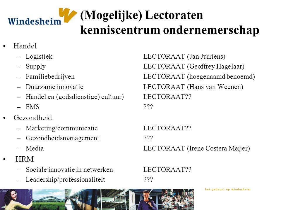 (Mogelijke) Lectoraten kenniscentrum ondernemerschap Handel –Logistiek LECTORAAT (Jan Jurriëns) –Supply LECTORAAT (Geoffrey Hagelaar) –Familiebedrijve