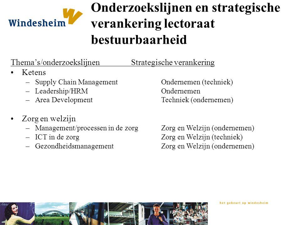 Onderzoekslijnen en strategische verankering lectoraat bestuurbaarheid Thema's/onderzoekslijnenStrategische verankering Ketens –Supply Chain Managemen