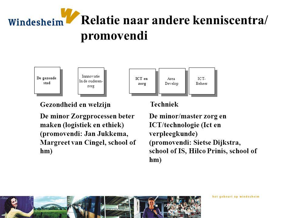 Relatie naar andere kenniscentra/ promovendi Area Develop Area Develop ICT- Beheer ICT- Beheer Innnovatie In de ouderen- zorg Innnovatie In de ouderen