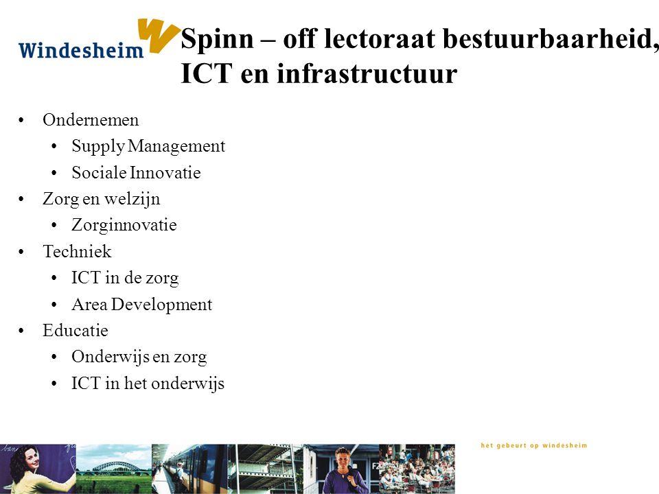 Spinn – off lectoraat bestuurbaarheid, ICT en infrastructuur Ondernemen Supply Management Sociale Innovatie Zorg en welzijn Zorginnovatie Techniek ICT