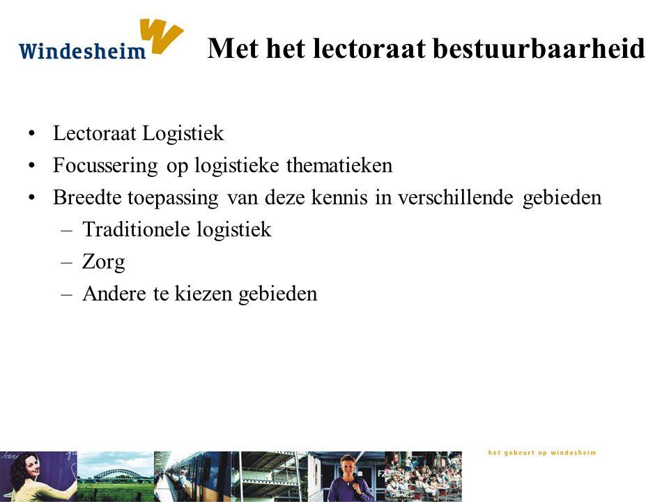 Met het lectoraat bestuurbaarheid Lectoraat Logistiek Focussering op logistieke thematieken Breedte toepassing van deze kennis in verschillende gebied