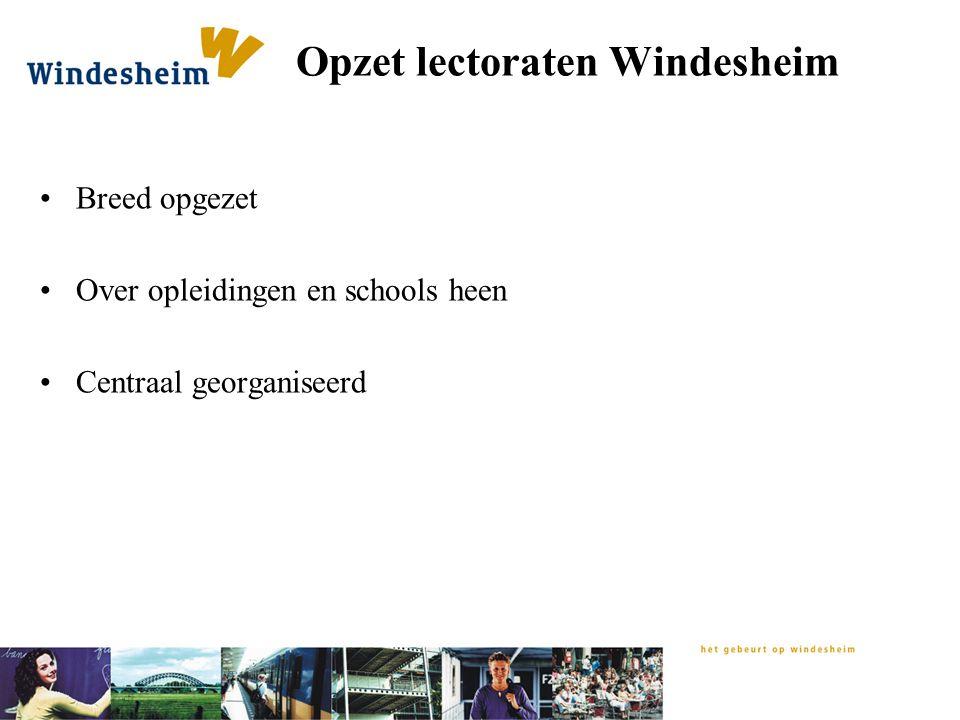 Opzet lectoraten Windesheim Breed opgezet Over opleidingen en schools heen Centraal georganiseerd