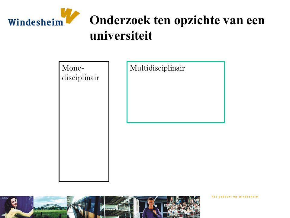 Onderzoek ten opzichte van een universiteit Mono- disciplinair Multidisciplinair