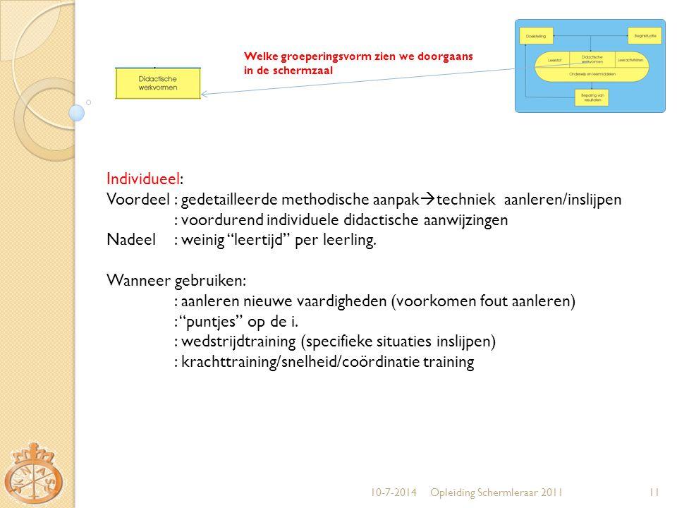 10-7-2014Opleiding Schermleraar 201111 Welke groeperingsvorm zien we doorgaans in de schermzaal Individueel: Voordeel: gedetailleerde methodische aanp