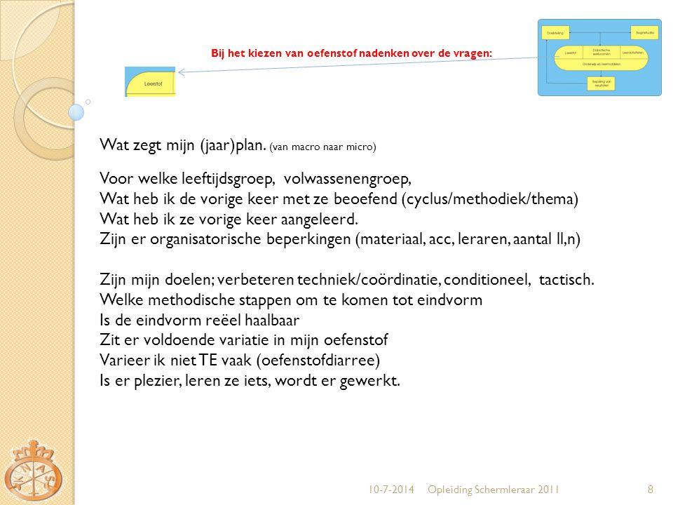 10-7-2014Opleiding Schermleraar 20118 Bij het kiezen van oefenstof nadenken over de vragen: Wat zegt mijn (jaar)plan. (van macro naar micro) Voor welk
