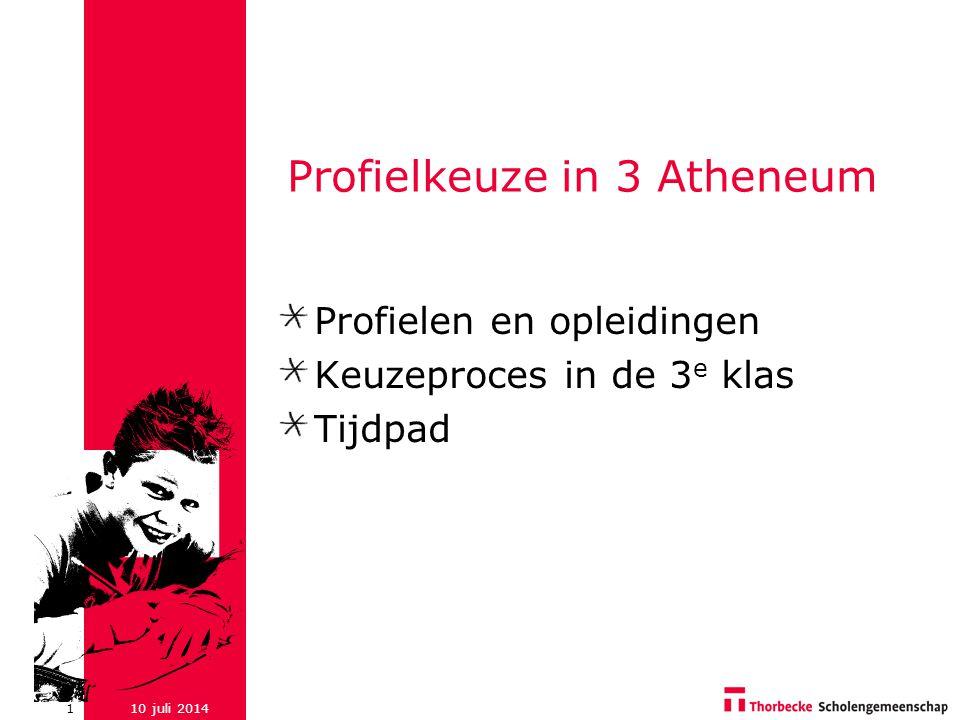 10 juli 20141 Profielkeuze in 3 Atheneum Profielen en opleidingen Keuzeproces in de 3 e klas Tijdpad