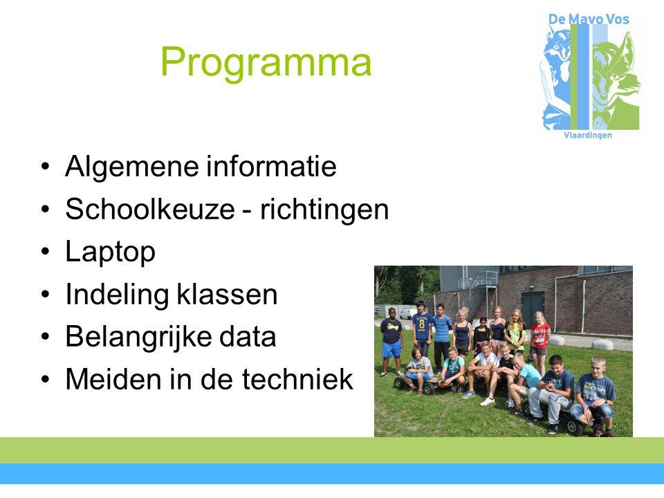 Algemene informatie Vakken Onderwijs in projecten Keuzewerkuur Minder handen voor de klas Rapporten/contactavonden Praktische zaken