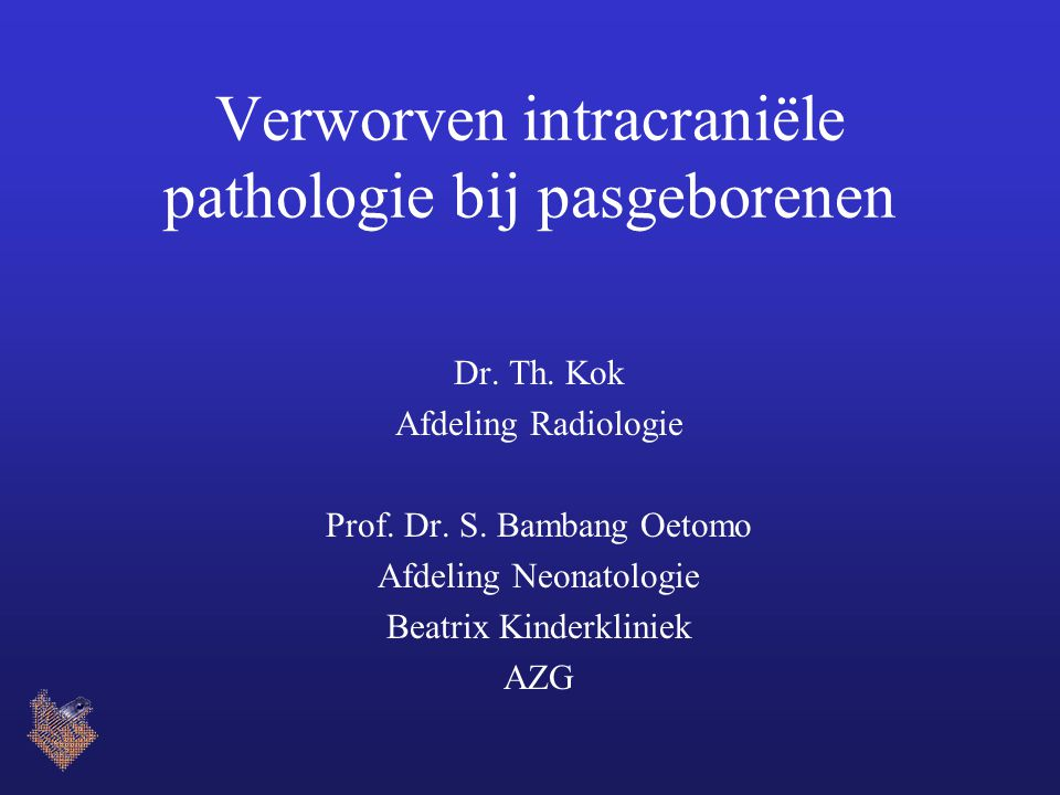 Verworven intracraniële pathologie bij pasgeborenen Dr. Th. Kok Afdeling Radiologie Prof. Dr. S. Bambang Oetomo Afdeling Neonatologie Beatrix Kinderkl