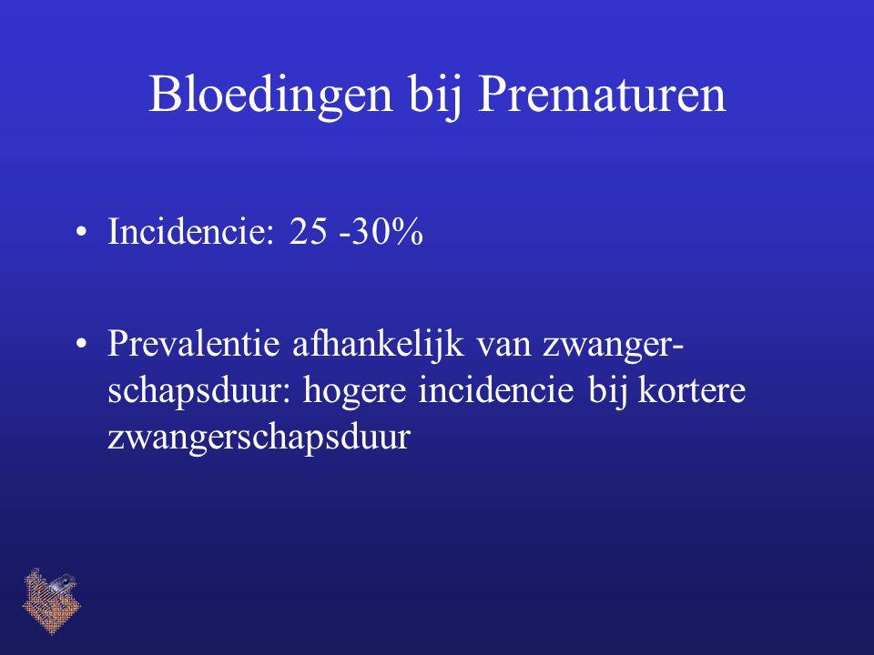 Bloedingen bij Prematuren Incidencie: 25 -30% Prevalentie afhankelijk van zwanger- schapsduur: hogere incidencie bij kortere zwangerschapsduur