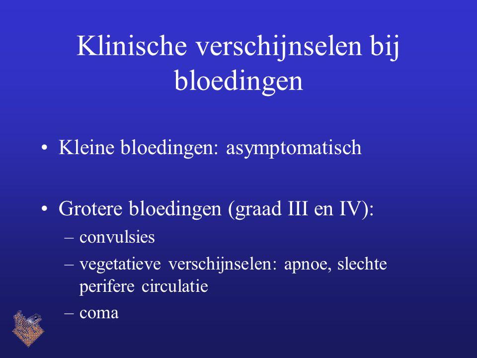 Klinische verschijnselen bij bloedingen Kleine bloedingen: asymptomatisch Grotere bloedingen (graad III en IV): –convulsies –vegetatieve verschijnselen: apnoe, slechte perifere circulatie –coma