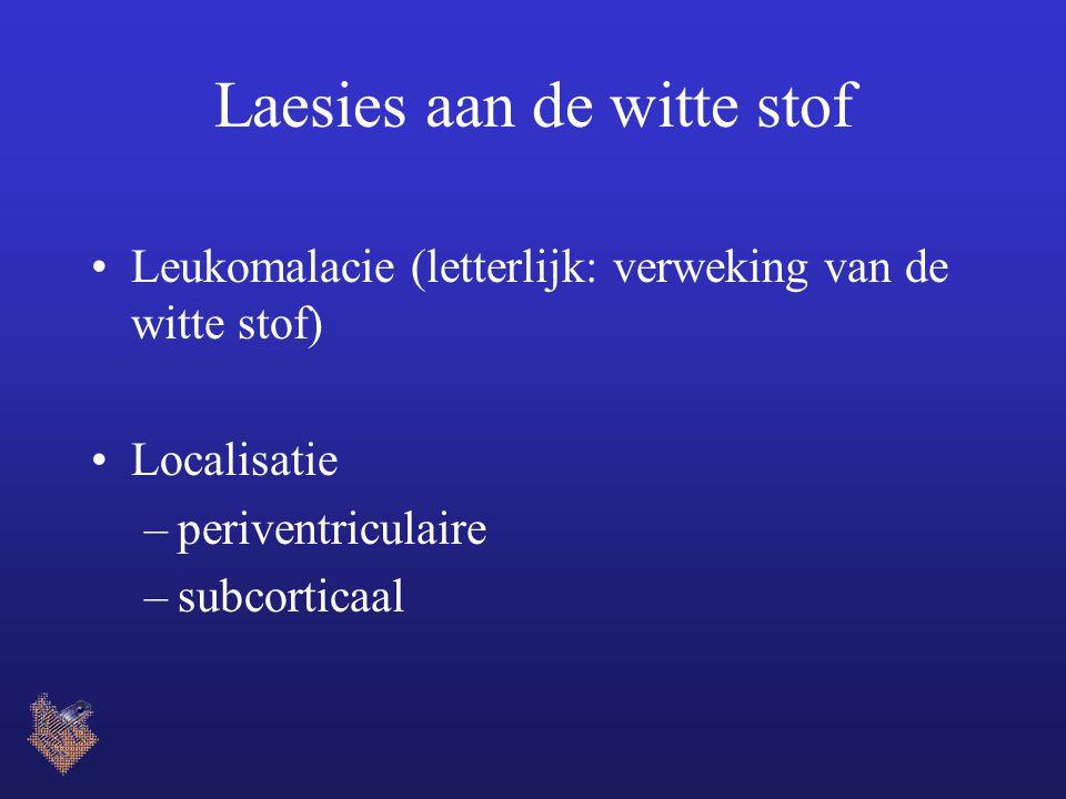 Laesies aan de witte stof Leukomalacie (letterlijk: verweking van de witte stof) Localisatie –periventriculaire –subcorticaal