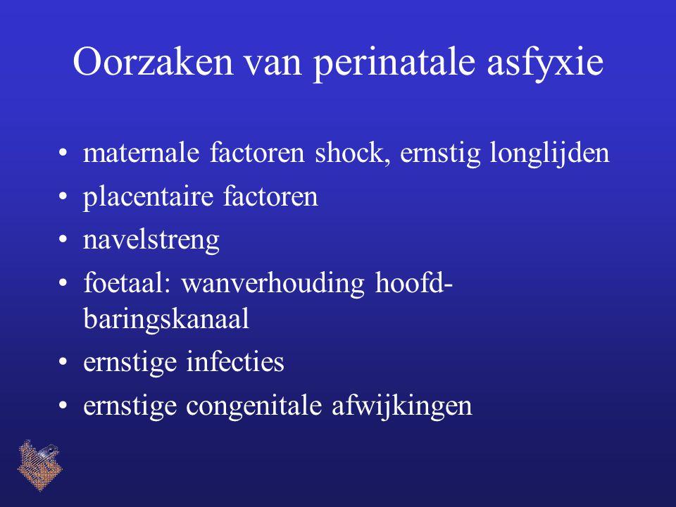 Oorzaken van perinatale asfyxie maternale factoren shock, ernstig longlijden placentaire factoren navelstreng foetaal: wanverhouding hoofd- baringskanaal ernstige infecties ernstige congenitale afwijkingen