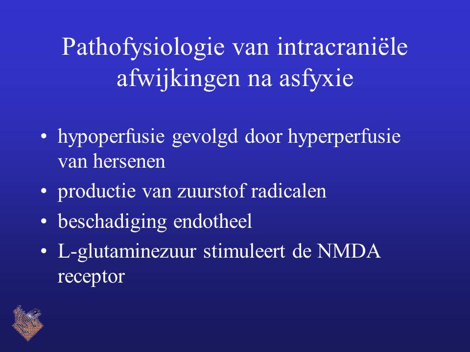 Pathofysiologie van intracraniële afwijkingen na asfyxie hypoperfusie gevolgd door hyperperfusie van hersenen productie van zuurstof radicalen beschadiging endotheel L-glutaminezuur stimuleert de NMDA receptor