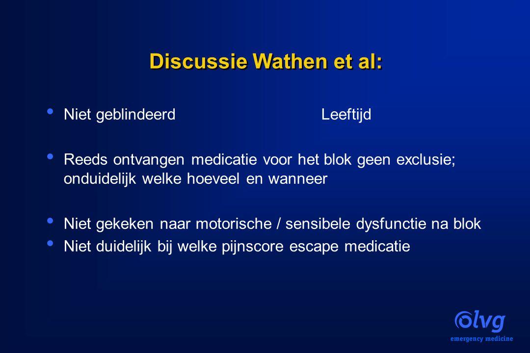 Discussie Wathen et al: Niet geblindeerd Leeftijd Reeds ontvangen medicatie voor het blok geen exclusie; onduidelijk welke hoeveel en wanneer Niet gek