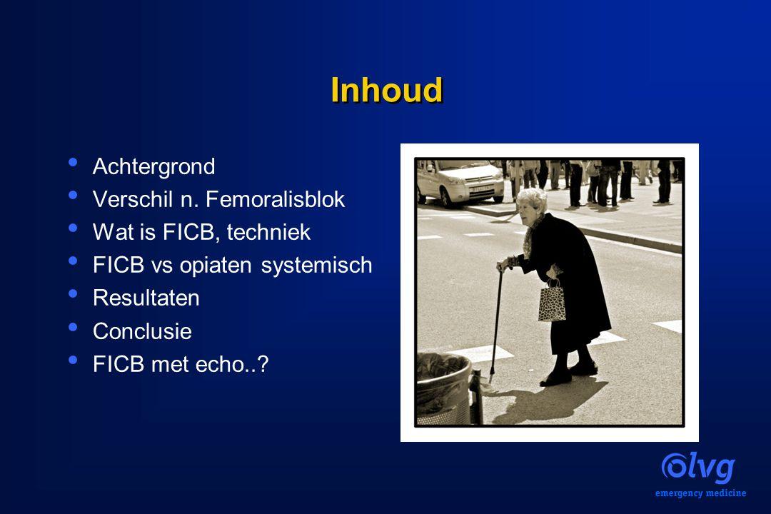 Inhoud Achtergrond Verschil n. Femoralisblok Wat is FICB, techniek FICB vs opiaten systemisch Resultaten Conclusie FICB met echo..?