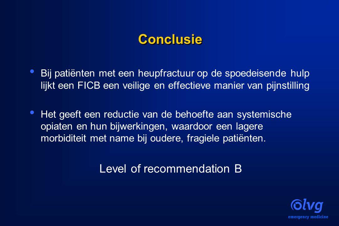 Conclusie Bij patiënten met een heupfractuur op de spoedeisende hulp lijkt een FICB een veilige en effectieve manier van pijnstilling Het geeft een re