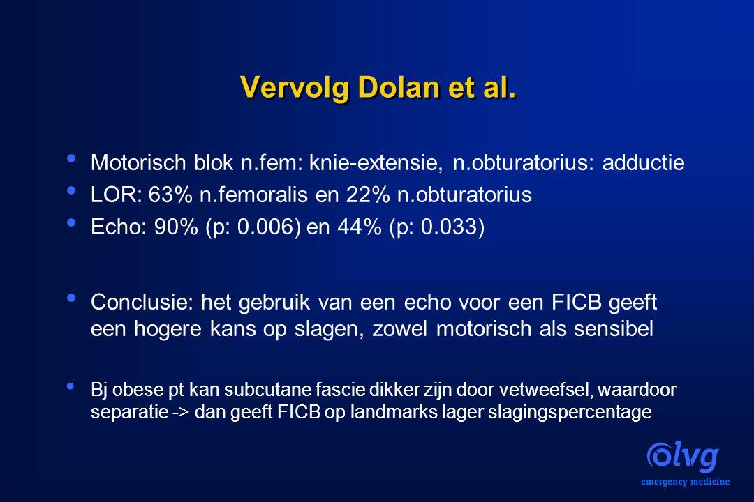 Vervolg Dolan et al. Motorisch blok n.fem: knie-extensie, n.obturatorius: adductie LOR: 63% n.femoralis en 22% n.obturatorius Echo: 90% (p: 0.006) en