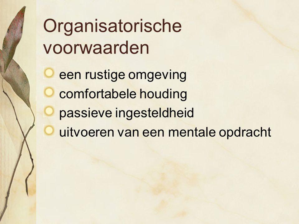 Organisatorische voorwaarden een rustige omgeving comfortabele houding passieve ingesteldheid uitvoeren van een mentale opdracht