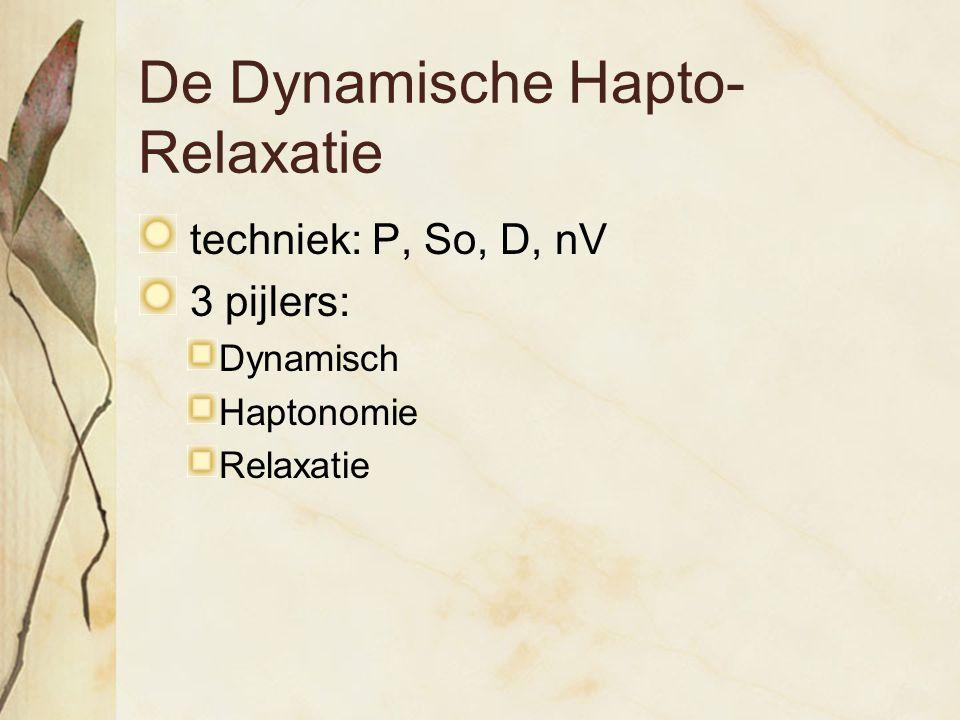 De Dynamische Hapto- Relaxatie techniek: P, So, D, nV 3 pijlers: Dynamisch Haptonomie Relaxatie
