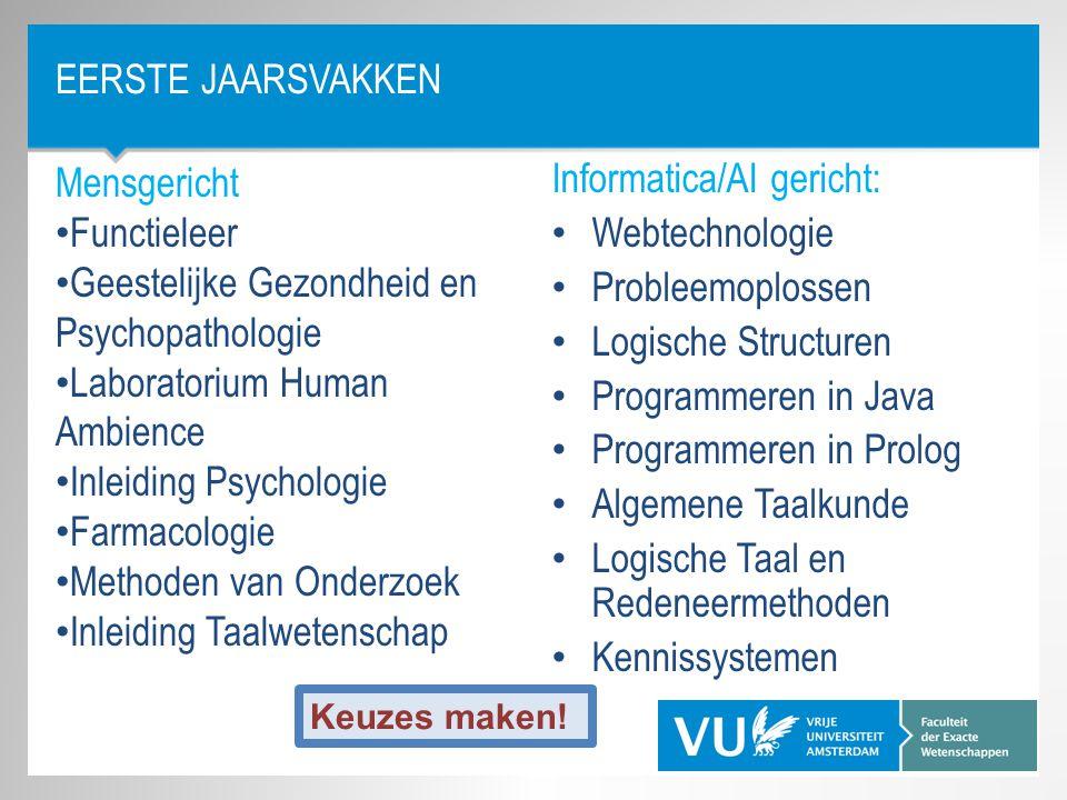 EERSTE JAARSVAKKEN Informatica/AI gericht: Webtechnologie Probleemoplossen Logische Structuren Programmeren in Java Programmeren in Prolog Algemene Ta