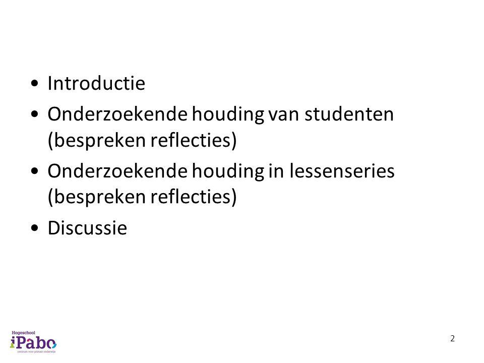 Introductie Onderzoekende houding van studenten (bespreken reflecties) Onderzoekende houding in lessenseries (bespreken reflecties) Discussie 2