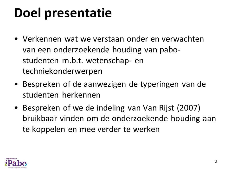Doel presentatie Verkennen wat we verstaan onder en verwachten van een onderzoekende houding van pabo- studenten m.b.t.
