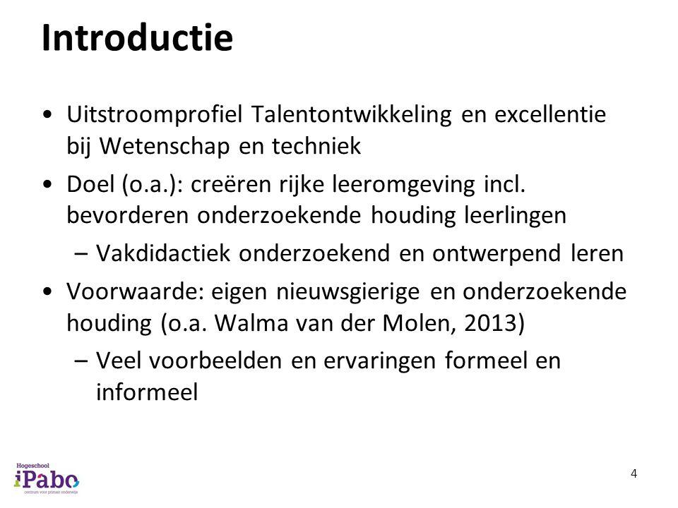 Introductie Uitstroomprofiel Talentontwikkeling en excellentie bij Wetenschap en techniek Doel (o.a.): creëren rijke leeromgeving incl. bevorderen ond
