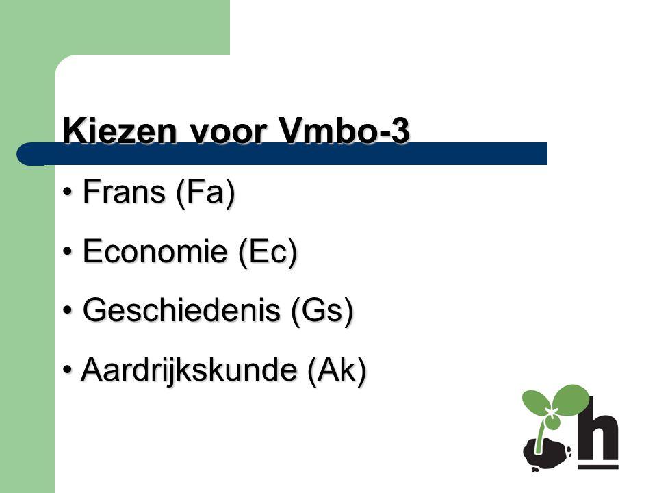 Kiezen voor Vmbo-3 Frans (Fa) Frans (Fa) Economie (Ec) Economie (Ec) Geschiedenis (Gs) Geschiedenis (Gs) Aardrijkskunde (Ak) Aardrijkskunde (Ak)