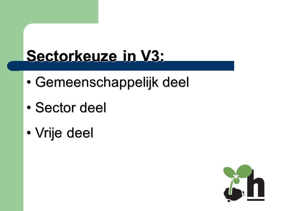Sectorkeuze in V3: Gemeenschappelijk deel Gemeenschappelijk deel Sector deel Sector deel Vrije deel Vrije deel