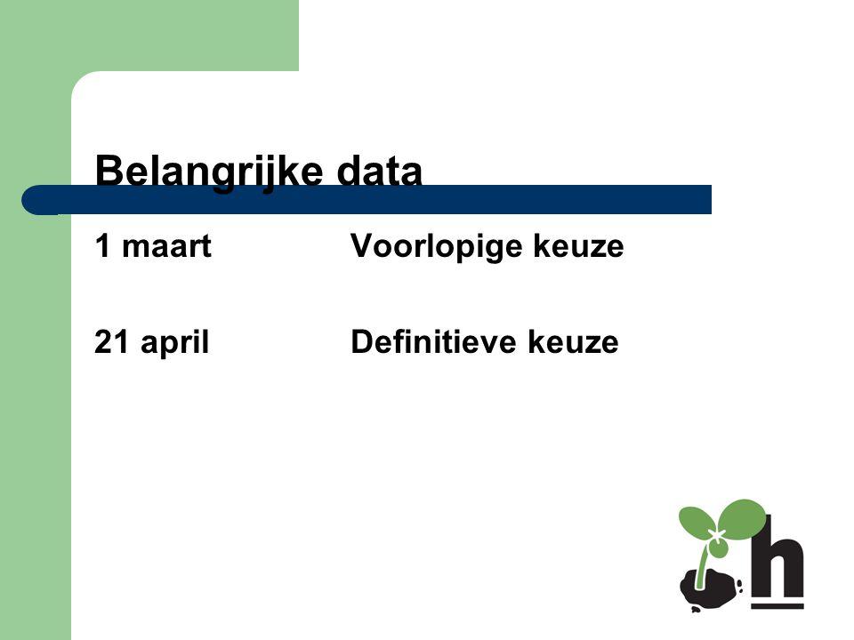 Belangrijke data 1 maartVoorlopige keuze 21 aprilDefinitieve keuze