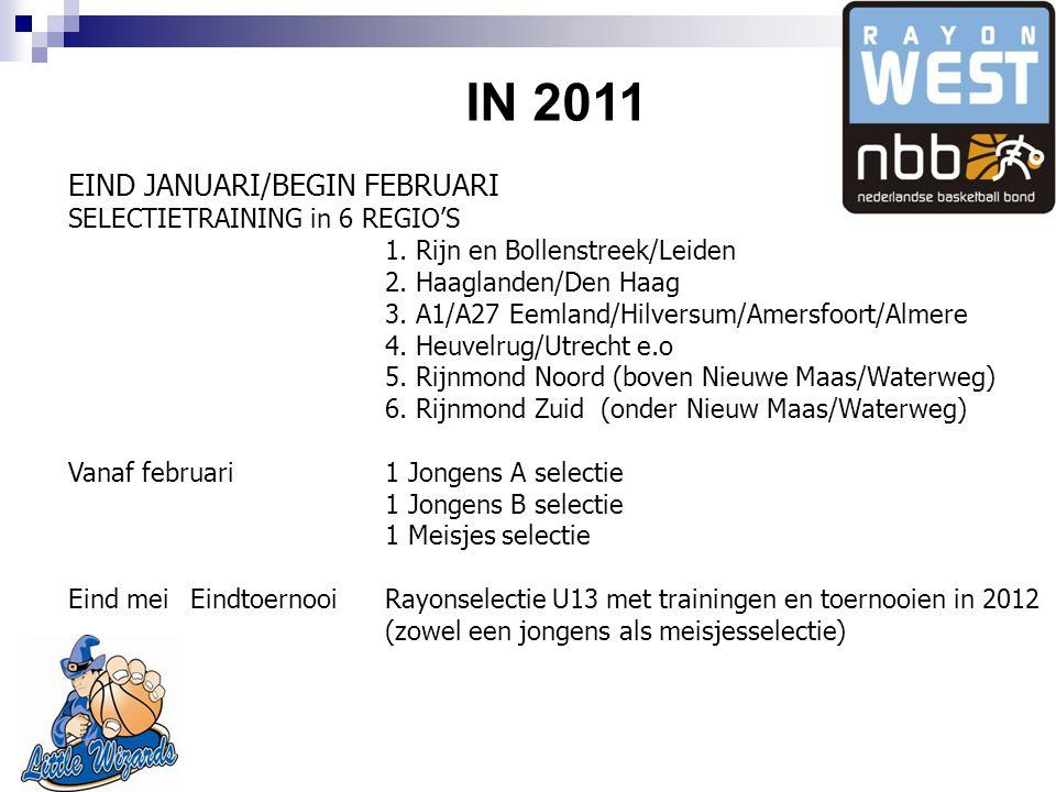 IN 2011 EIND JANUARI/BEGIN FEBRUARI SELECTIETRAINING in 6 REGIO'S 1.