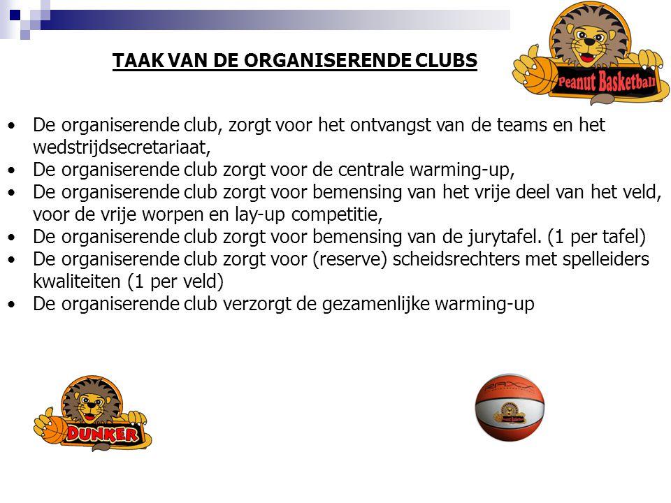 TAAK VAN DE ORGANISERENDE CLUBS De organiserende club, zorgt voor het ontvangst van de teams en het wedstrijdsecretariaat, De organiserende club zorgt voor de centrale warming-up, De organiserende club zorgt voor bemensing van het vrije deel van het veld, voor de vrije worpen en lay-up competitie, De organiserende club zorgt voor bemensing van de jurytafel.
