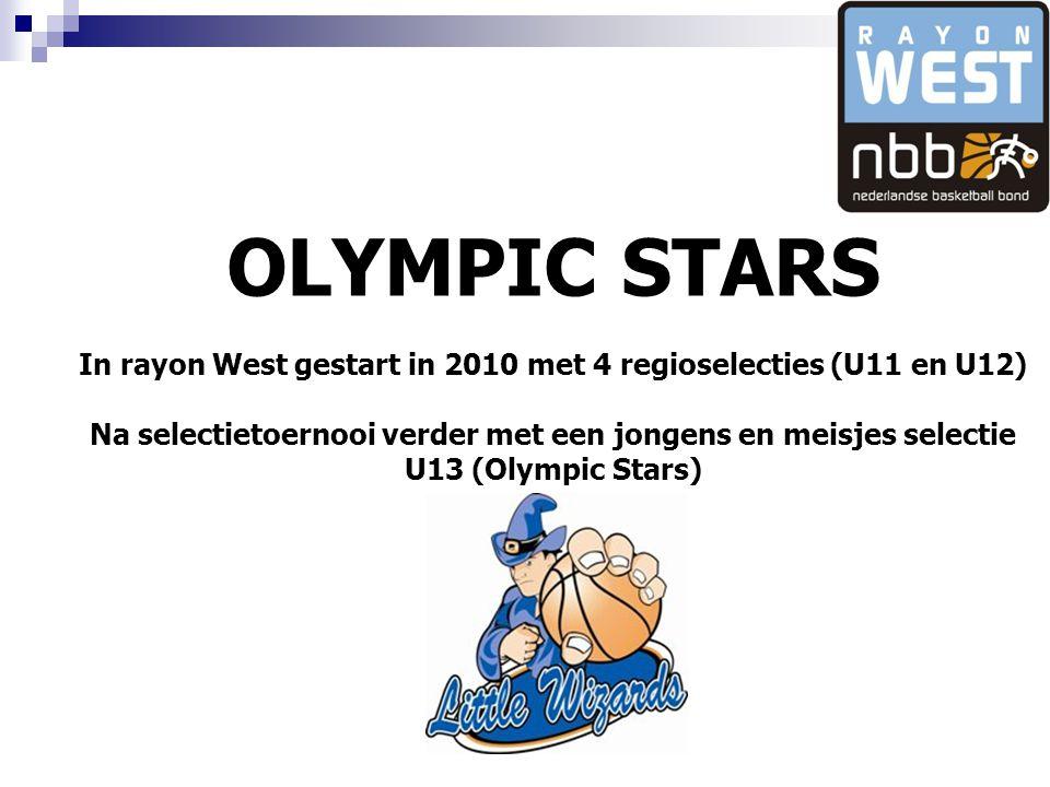 OLYMPIC STARS In rayon West gestart in 2010 met 4 regioselecties (U11 en U12) Na selectietoernooi verder met een jongens en meisjes selectie U13 (Olympic Stars)