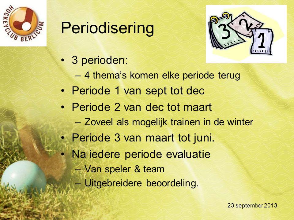 Periodisering 3 perioden: –4 thema's komen elke periode terug Periode 1 van sept tot dec Periode 2 van dec tot maart –Zoveel als mogelijk trainen in d
