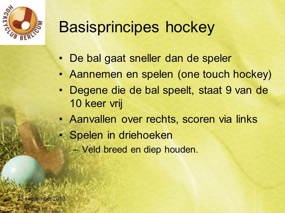 Basisprincipes hockey De bal gaat sneller dan de speler Aannemen en spelen (one touch hockey) Degene die de bal speelt, staat 9 van de 10 keer vrij Aa