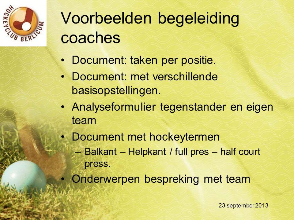 Voorbeelden begeleiding coaches Document: taken per positie. Document: met verschillende basisopstellingen. Analyseformulier tegenstander en eigen tea