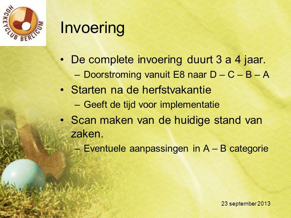 Invoering De complete invoering duurt 3 a 4 jaar. –Doorstroming vanuit E8 naar D – C – B – A Starten na de herfstvakantie –Geeft de tijd voor implemen