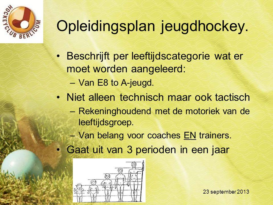 Opleidingsplan jeugdhockey. Beschrijft per leeftijdscategorie wat er moet worden aangeleerd: –Van E8 to A-jeugd. Niet alleen technisch maar ook tactis