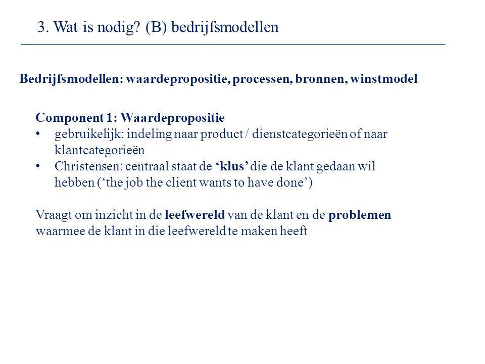 Component 1: Waardepropositie gebruikelijk: indeling naar product / dienstcategorieën of naar klantcategorieën Christensen: centraal staat de 'klus' d