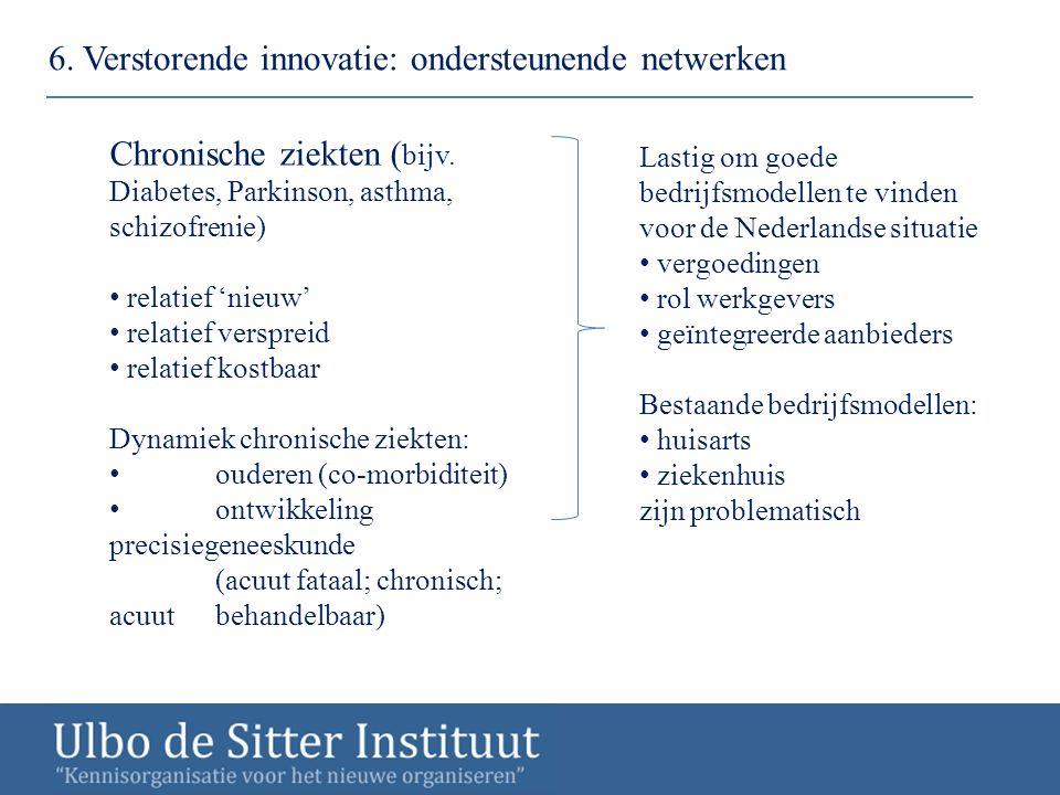 6. Verstorende innovatie: ondersteunende netwerken Chronische ziekten ( bijv. Diabetes, Parkinson, asthma, schizofrenie) relatief 'nieuw' relatief ver