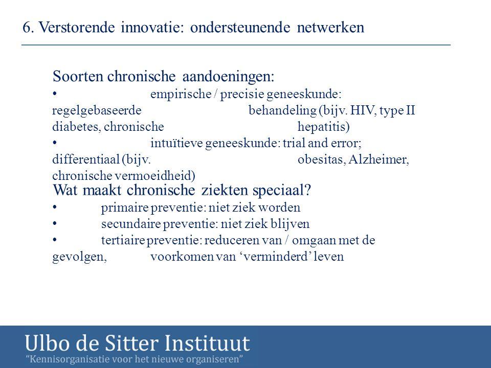 6. Verstorende innovatie: ondersteunende netwerken Soorten chronische aandoeningen: empirische / precisie geneeskunde: regelgebaseerde behandeling (bi