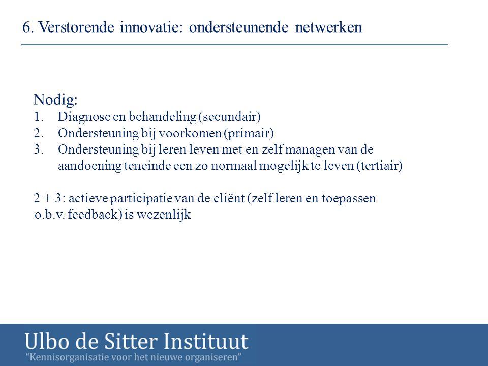 6. Verstorende innovatie: ondersteunende netwerken Nodig: 1.Diagnose en behandeling (secundair) 2.Ondersteuning bij voorkomen (primair) 3.Ondersteunin