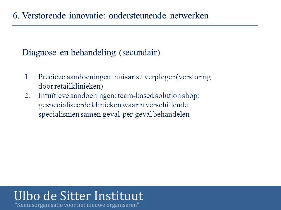 6. Verstorende innovatie: ondersteunende netwerken Diagnose en behandeling (secundair) 1.Precieze aandoeningen: huisarts / verpleger (verstoring door