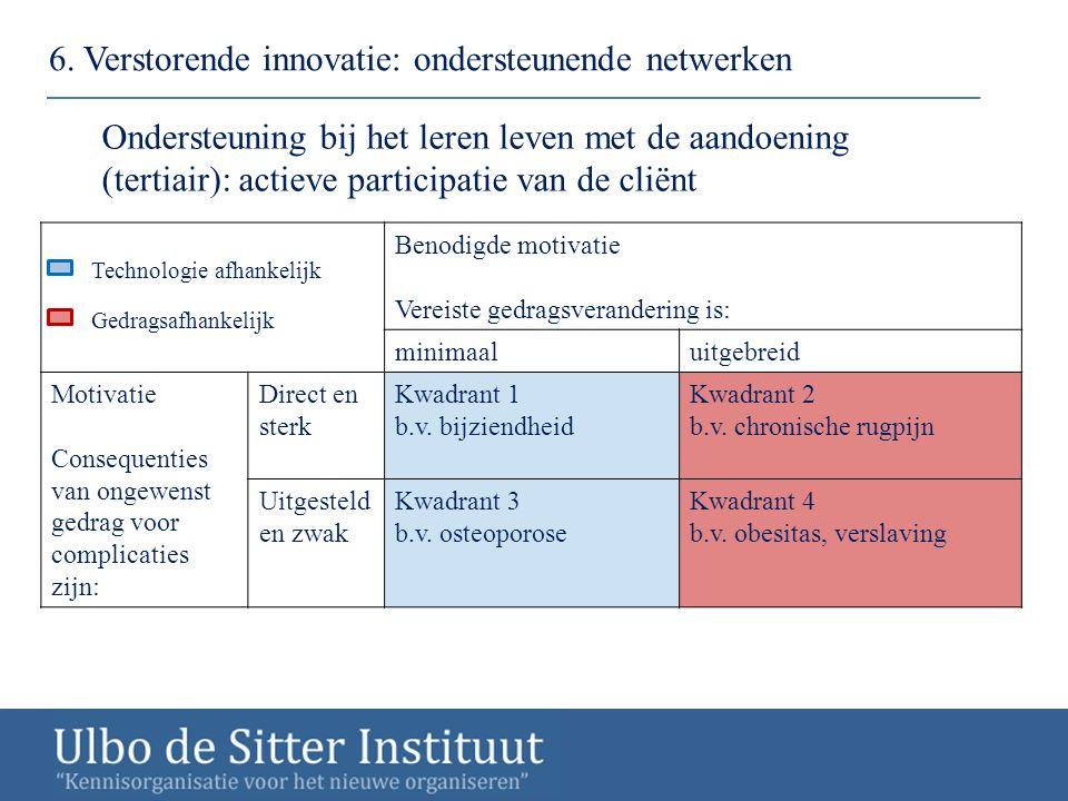6. Verstorende innovatie: ondersteunende netwerken Ondersteuning bij het leren leven met de aandoening (tertiair): actieve participatie van de cliënt