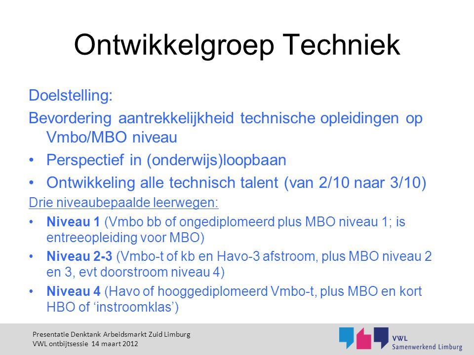 Ontwikkelgroep Techniek Doelstelling: Bevordering aantrekkelijkheid technische opleidingen op Vmbo/MBO niveau Perspectief in (onderwijs)loopbaan Ontwi